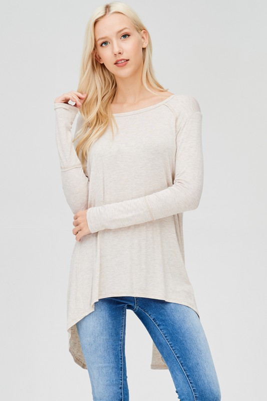 SCOOP NECK LONG SLEEVE TUNIC - orangeshine.com