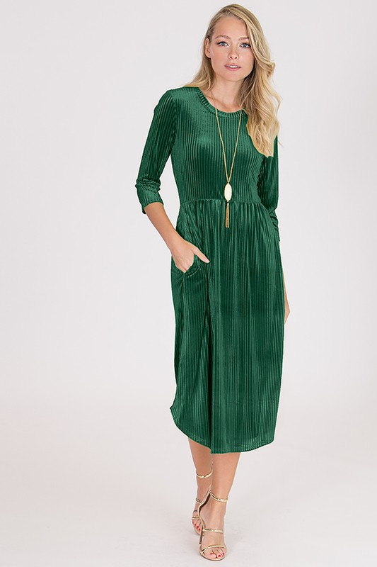 Velvet Midi Pocket Dress - orangeshine.com