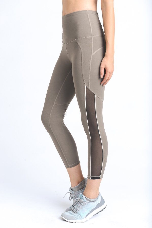 CONTRAST TRIM SIDE MESH LEGGINGS - orangeshine.com