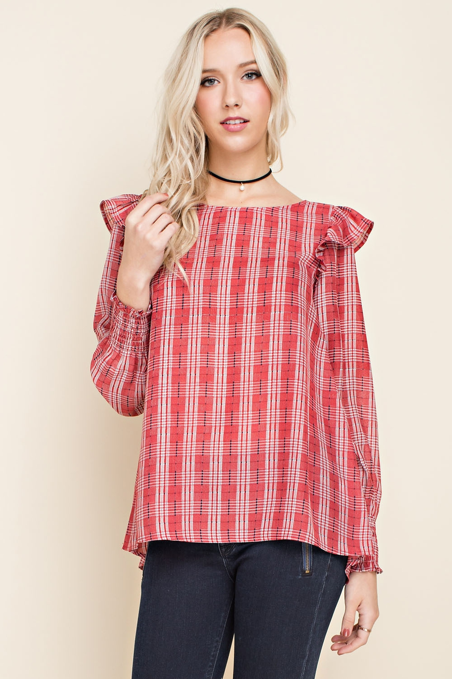 Silky Plaid Ruffle Blouse - orangeshine.com