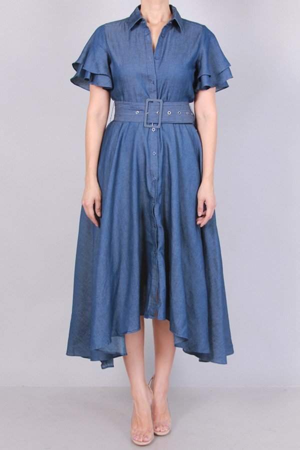 CHAMBRAY MIDI DRESS WITH BELT - orangeshine.com