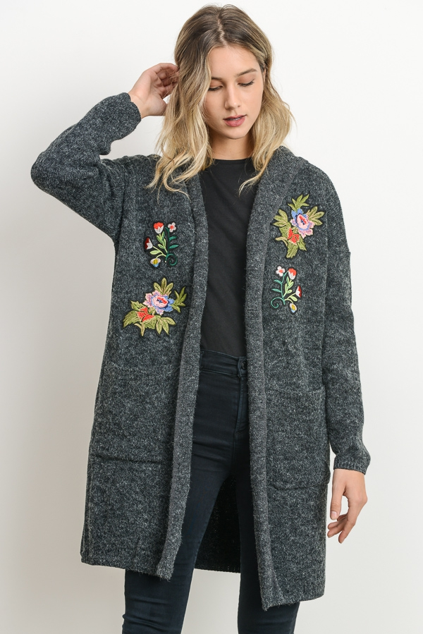 Sweater Cardigan with Floral Embroid - orangeshine.com