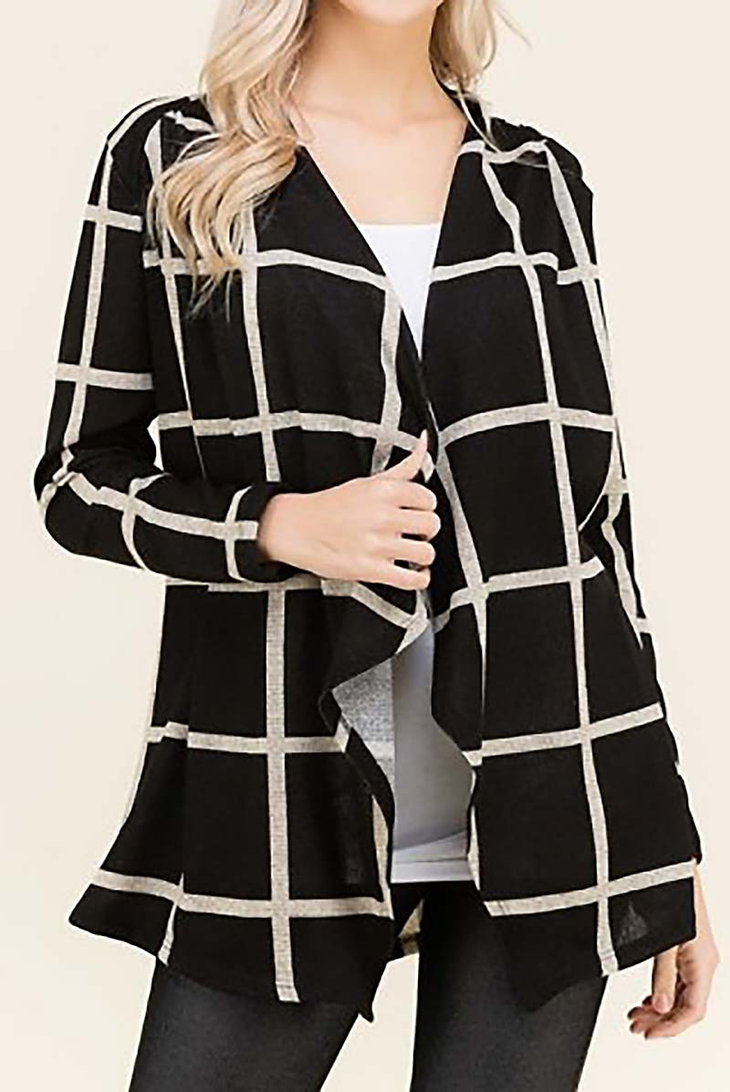 CHECKER PRINT DRAPED CARDIGAN  - orangeshine.com