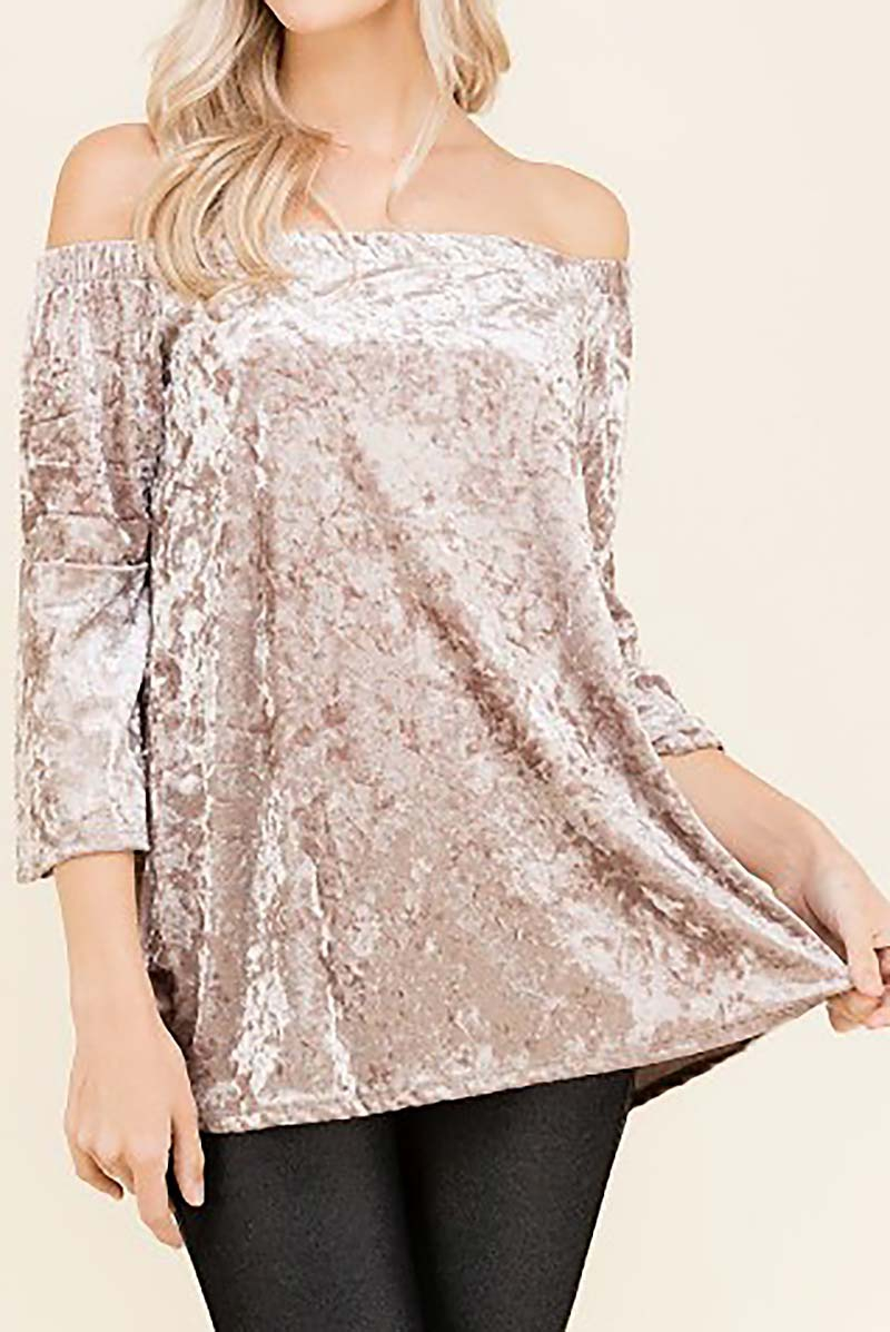 OFF SHOULDER VELVET TOP  - orangeshine.com