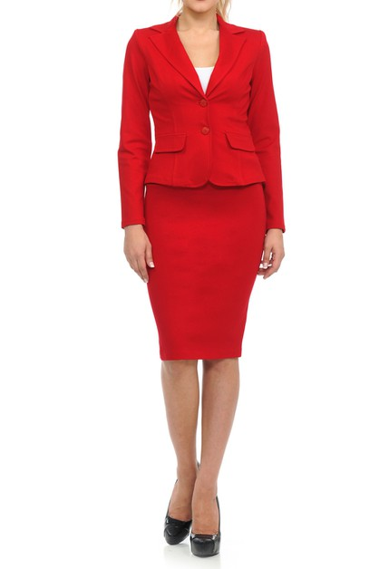 Solid skirt suit set - orangeshine.com
