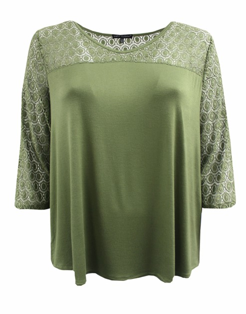 Green Tee with Laced Sleeves - orangeshine.com