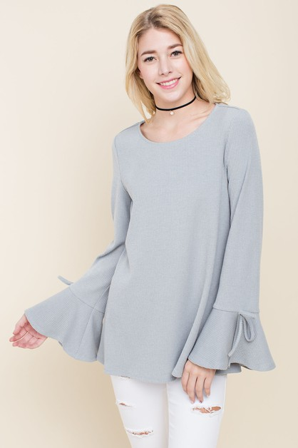 Ribbed Bell Sleeve Blouse With Bows - orangeshine.com