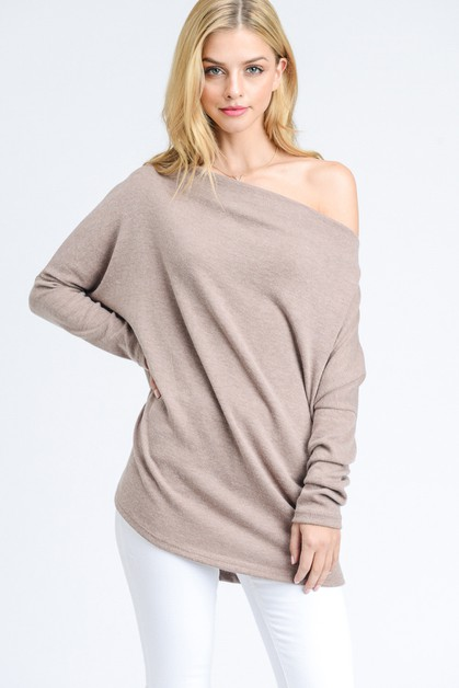 OFF-THE-SHOULDER SWEATER TOP - orangeshine.com