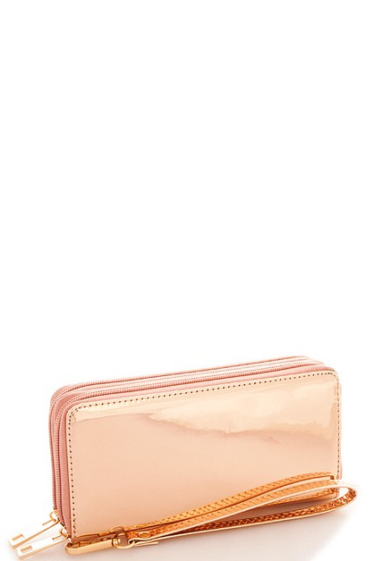 Glossy Metallic Long Wallet - orangeshine.com