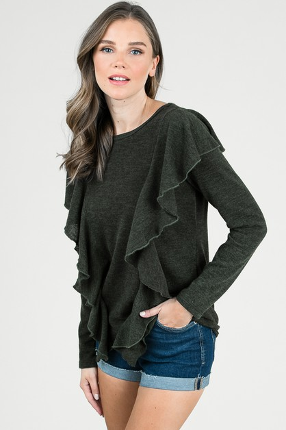 All Over Ruffled Sweater Top - orangeshine.com