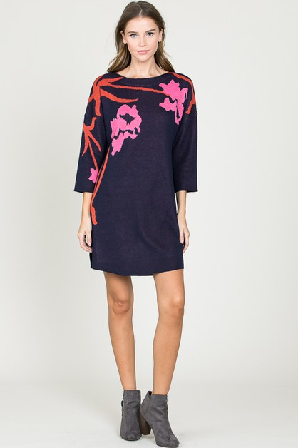 Floral knitted Tunic Dress - orangeshine.com