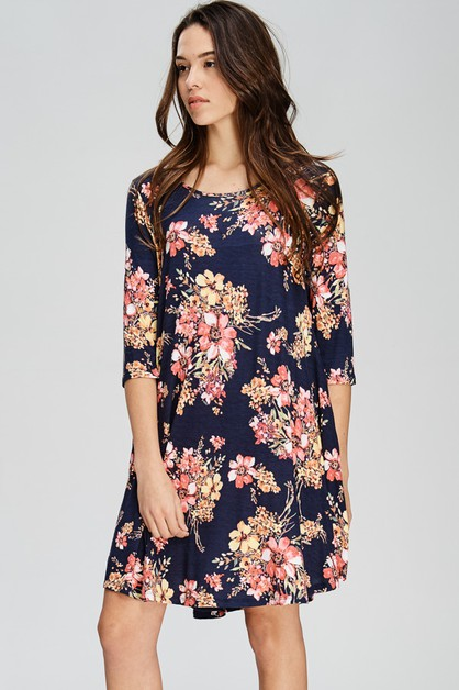 Comfy Swing Floral Dress with Pocket - orangeshine.com