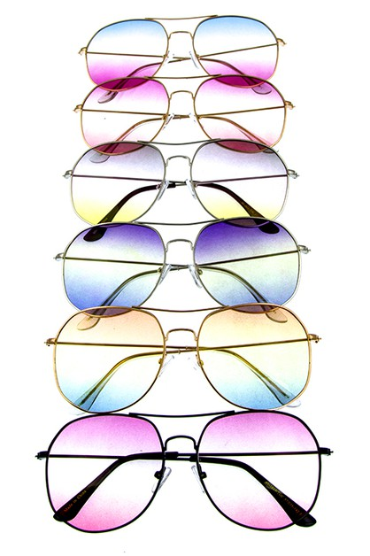 Aviator Style ColorTinted Sunglasses - orangeshine.com
