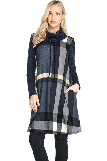 COWL NECK PLAID DRESS - orangeshine.com