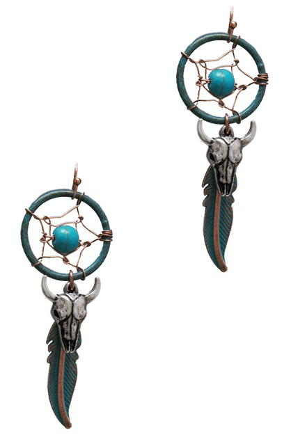 DREAM CATCHER BULL SKULL EARRING - orangeshine.com