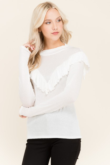 RUFFLED YOKE MOCK NK HACCI KNIT TOP - orangeshine.com