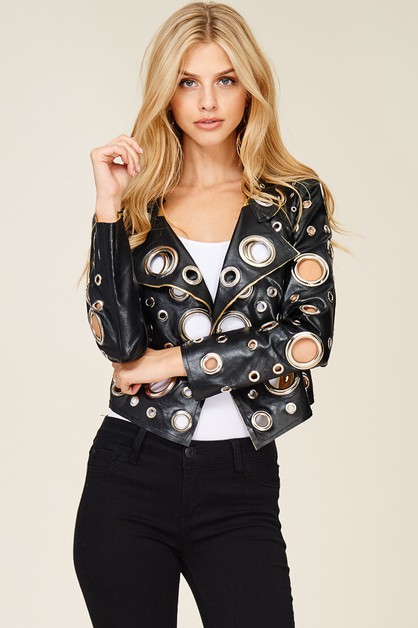 All Over Grommet Faux Leather Jacket - orangeshine.com