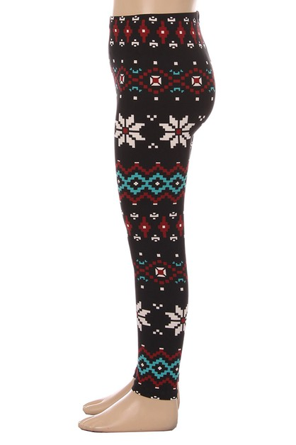 KIDS Snowflake Print Leggings - orangeshine.com