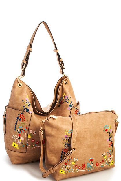 2in1 Designer Embroidered Hobo Bag - orangeshine.com