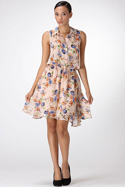 FLORAL PRINT SHIRT DRESS - orangeshine.com