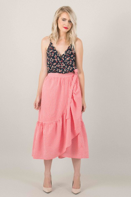 Red Gingham Ruffle Wrap Skirt - orangeshine.com