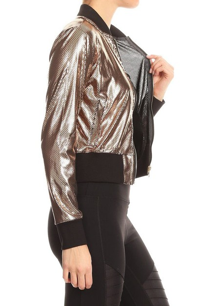 Metallic Foil Cropped Jacket - orangeshine.com