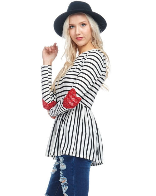 Stripe top with heart patch on sleev - orangeshine.com