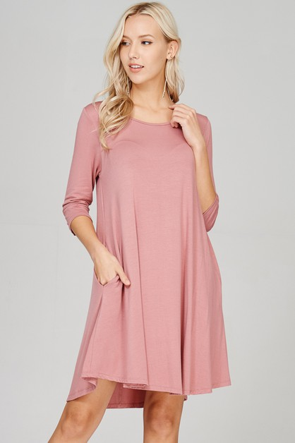 Comfy Scoop Neck Swing Dress -Pocket - orangeshine.com