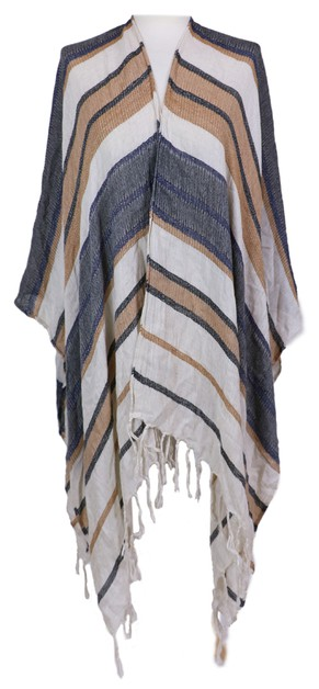 Striped Camel Tassel Wrap Shawl - orangeshine.com