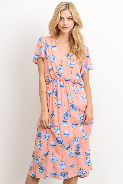 Midi Pastel Peplum Flower Dress - orangeshine.com