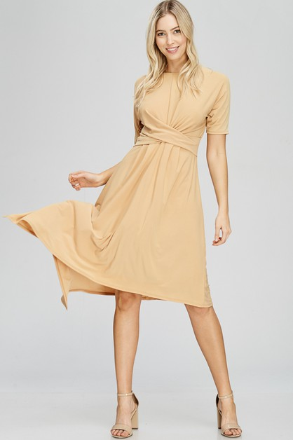 Kaylas Armoire Drape Front Dress - orangeshine.com