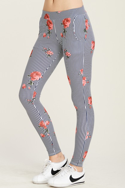 FLORAL SOFT LEGGINGS WITH POCKETS - orangeshine.com