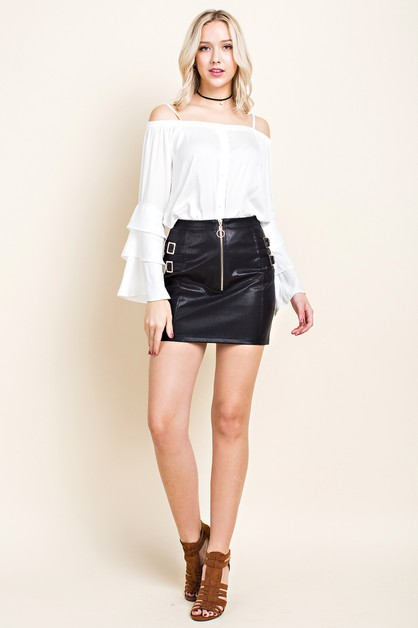 Vegan Leather Moto Mini Skirt - orangeshine.com