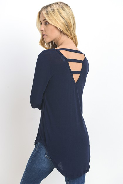 OPEN BACK V NECK TUNIC TOP - orangeshine.com