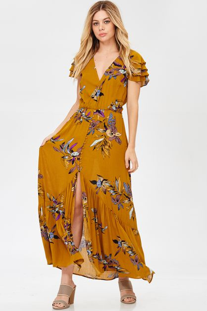 MAXI FLORAL PRINT DRESS - orangeshine.com