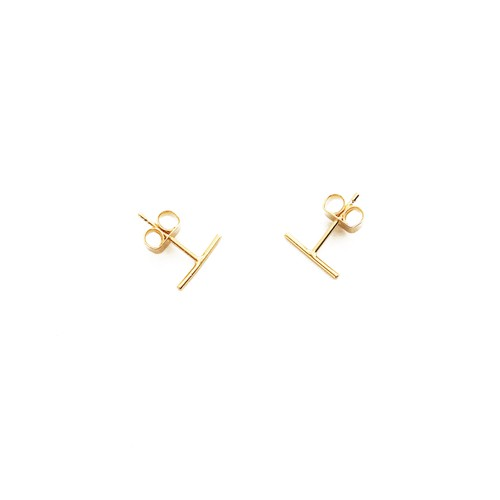 Skinny Midi Wire Bar Stud Earrings - orangeshine.com