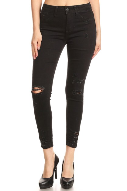 HIGH WAIST BLACK RIPPED CROPPED JEAN - orangeshine.com