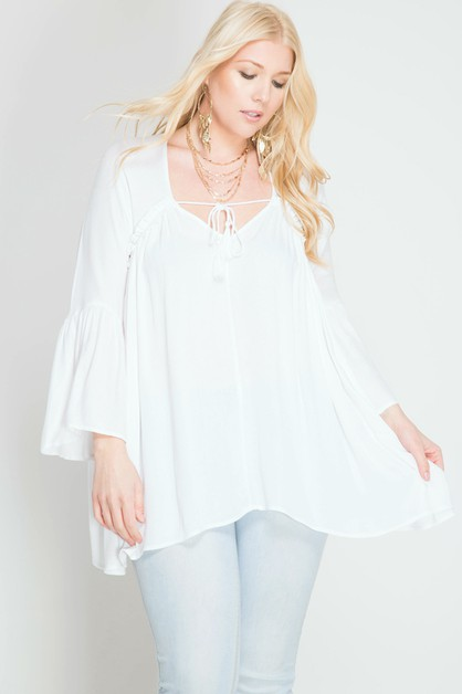 PSL3836 - BELL SLEEVE TOP - orangeshine.com