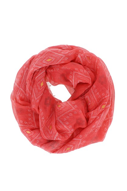 Red Pattern Infinity Scarf - orangeshine.com