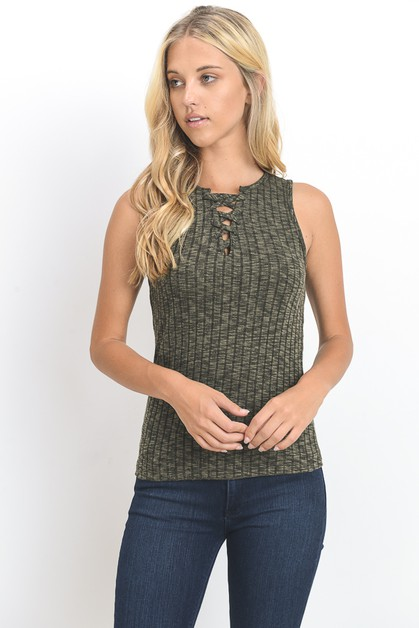 SLEEVELESS LACE UP SWEATER TOP - orangeshine.com