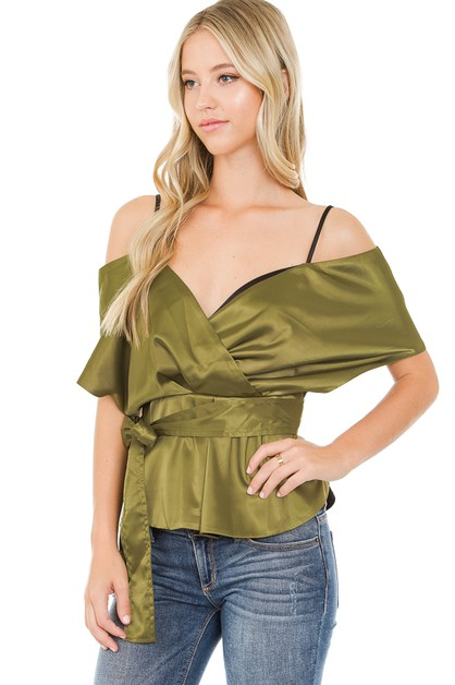 Satin surplice cold shoulder top - orangeshine.com