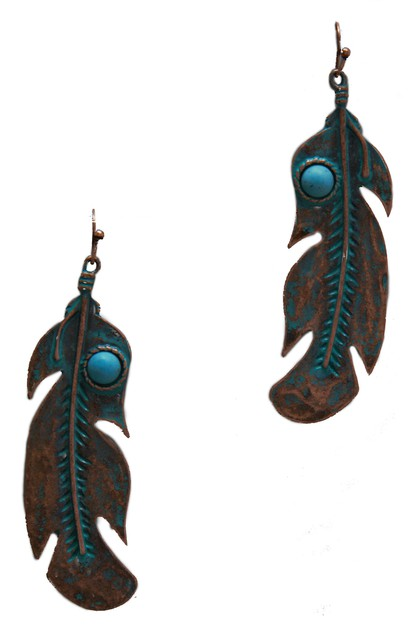 TURQUOISE STONE FEATHER EARRING - orangeshine.com