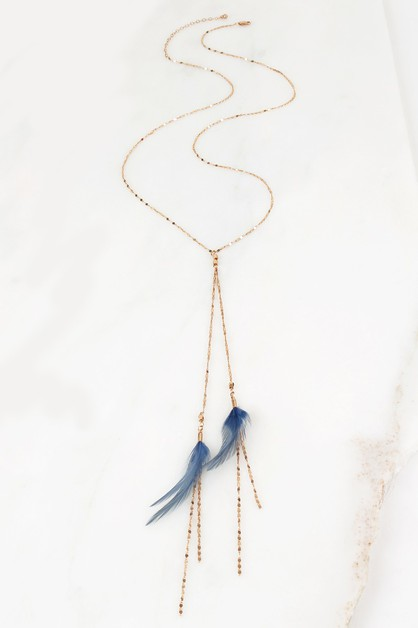 CHAIN AND FEATHER NECKLACE - orangeshine.com