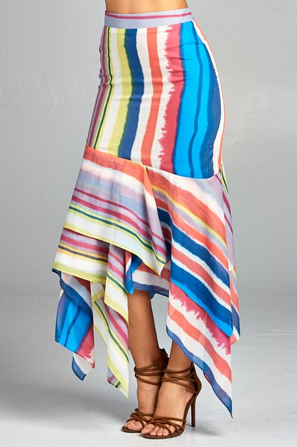 Multi Color Print Skirt - orangeshine.com
