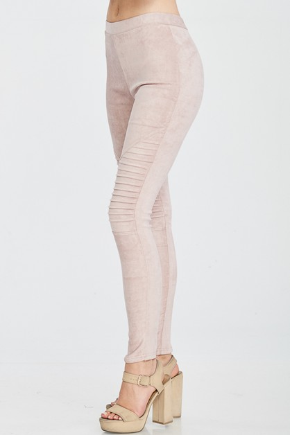 SUEDE LEGGINGS WITH PINTUCK DETAILED - orangeshine.com