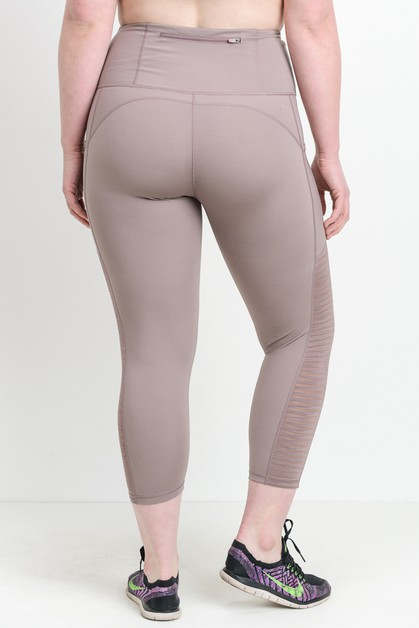 burnout mesh contrast leggings - orangeshine.com