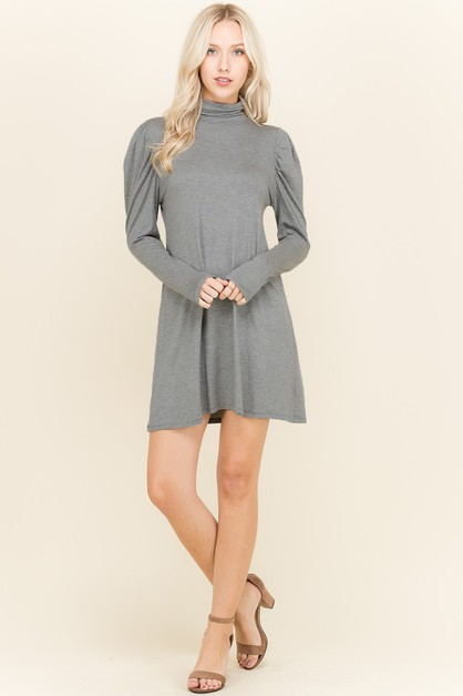 TURTLENECK PUFF SHIRRED DRESS - orangeshine.com