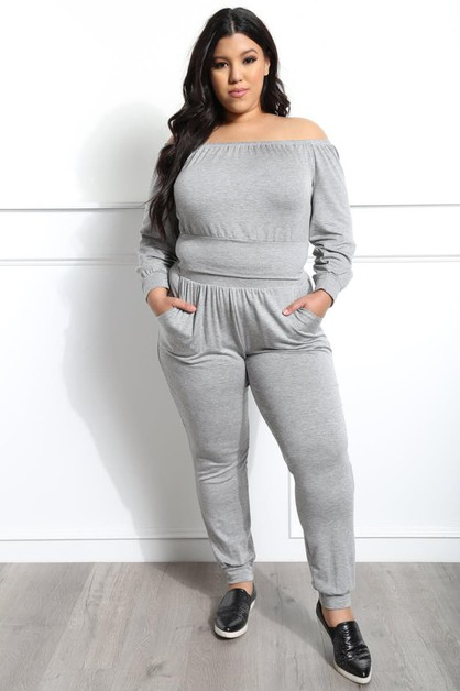 OFF SHOULDERS TOP AND JOGGER SET - orangeshine.com