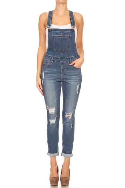 Distressed Denim Overalls - orangeshine.com
