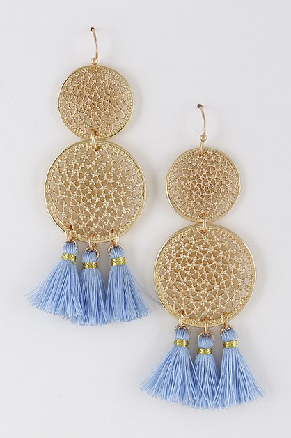 BEADED TASSEL CIRCLE EARRINGS - orangeshine.com